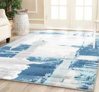 area rug HMPT#701 Modern Gray White Blue design soft pile size 2x3 3x10 5x7 8x11