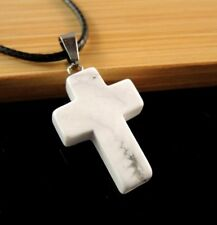 White Howlite Gemstone Cross Pendant on a Black Waxed Cord Necklace #843