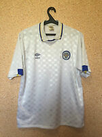 RARE LEEDS UNITED ENGLAND 1988/1989/1990 HOME FOOTBALL SHIRT JERSEY MAGLIA UMBRO