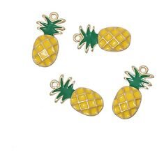 4  x Pineapple Yellow Enamel Pendant Charms Gold Plated