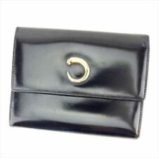 Cartier Wallet Purse Trifold Black Gold Woman unisex Authentic Used T7003