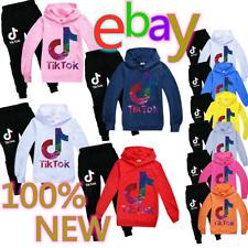 Kids Boys Girls Tik Tok Long Sleeve Hoodies Tracksuits Sportswear Set Tops&Pants