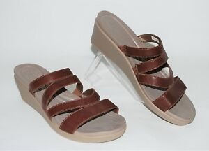Croc Womens Leigh-Ann Mini Wedge Sandals Size 11 Brown Slip On Strappy Shoes