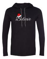 Mens Hooded Believe #3 T-Shirt Christmas Shirt X-mas Santa Claus Long Sleeve