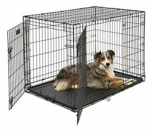 Large Dog Crate 1542DDUMidWest ICrate Double Door Folding Metal Dog Crate Lar...