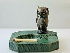 Art Deco Green marble ash tray set with a bronze Owl Bird Match holder