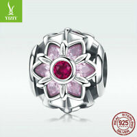 925 Sterling Silver Charm Bead Cherry Flower With Pink CZ For Bracelet Necklace