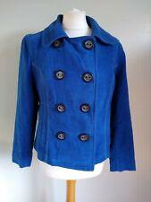 NEXT Size 10 BLUE Double Breasted VELVET Feel LONG SLEEVE Cotton COAT JACKET