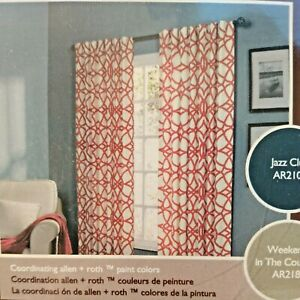 """NEW allen+roth Single Panel Curtain Back Tab  50""""x84"""" Red Paprika #5400 OBERLIN"""