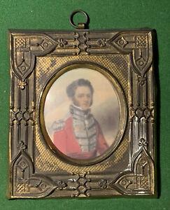 RARE ANTIQUE circa 1814 JAMES WRIGHT 24th REGIMENT MINIATURE PORTRAIT EDINBURGH