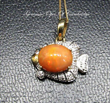 "9ct Gold Orange Opal and Diamond Fish Pendant 16"" Necklace 3.11g"
