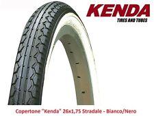 "Copertone ""kenda"" 26x1 75 stradale Bianco/nero per bici 26"" MTB Mountain Bike"