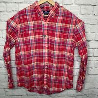 New Vineyard Vines Slim Fit Murray Shirt Red Plaid 100% Linen Long Sleeve XL