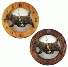 Cairn Terrier Wood Wall Clock Plaque Blk Brindle