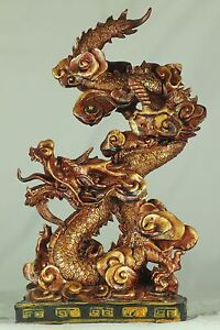 27cm RED/GOLD CHINESE DRAGON - CHINESE NEW YEAR - FENG SHUI - LUCKY GIFT