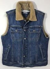 Tommy Hilfiger Women's Jean Vest Large Blue Jean Faux Shearling Fur Lined Large