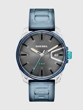 New NIB Diesel Men's 3 Hand Transparent Case Blue Silicone 44mm Watch DZ1868