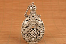 Chinese old Tibet silver carved fengshui hollow snuff bottle