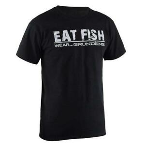 New  Licensed Grundens EAT FISH  Black/White Fishing Shirt Size M  ___S53