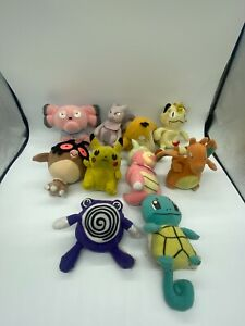 Lot of Ten (10) Hasbro 1998 Nintendo Pokemon Plush Metwo Charizard Pickachu READ
