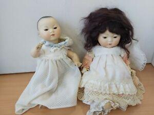 Pair Vintage Oriental Asian Infant Porcelain Dolls B10T