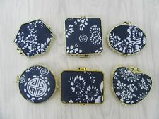 24 Blue Silk Cover Make-up Pocket Mirrors Assorted
