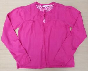 JOHN LEWIS Girls Pink Cerise One Button Fine Knit Cardigan 100% Cotton 11 Years