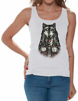 Indian Headdress WOMEN TANK TOP T-shirt Native American Wolf Tee Fox Feather Tee