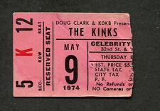 1974 The Kinks and early Kansas concert ticket stub Phoenix AZ Preservation