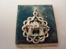 STERLING SILVER VINTAGE CHRISTMAS MANTLE  HEARTHCHARM WITH GEMSTONES