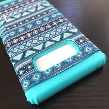 Samsung Galaxy Note 8 - Hybrid Kickstand Armor Case Teal Green Blue Aztec Tribal