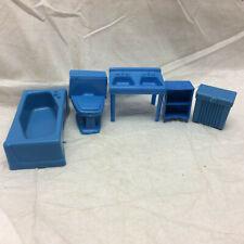 Vintage Plastic Doll House Bathroom Furniture Blue Toys tub, toilet, sink, shelf