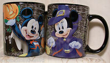 Disney MICKEY MOUSE (Vampire) & MINNIE (Witch) HALLOWEEN COFFEE CUP MUG Set of 2