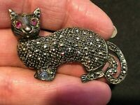 Sterling Silver with Marcasites Cat Pin