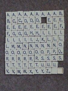 98 Vintage Scrabble square backed letter tiles Spares or Crafts Black on Ivory
