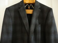 HUGO BOSS Charcoal Brown Shadow Plaid Wool 2-Btn The Keys3 Blazer Jacket 44 R