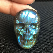 "1.3"" Natural Labradorite Quartz Hand Carved Skull Crystal Spectrolite 1pc"