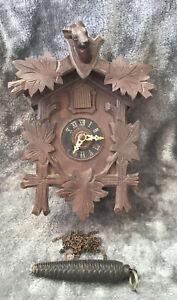 Vintage Poss Antique Black Forest Wooden Cuckoo Clock For Restoration