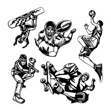 SPORTS CLIPART-VECTOR CLIP ART-VINYL CUTTER PLOTTER IMAGES & T-SHIRT GRAPHICS CD