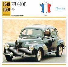 Peugeot 203  4 Cyl. Berline 1948-1960 France CAR VOITURE CARTE CARD FICHE