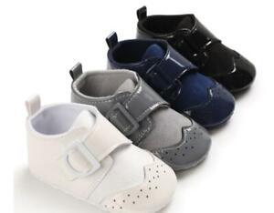 Newborn Baby Boy Crib Shoes Infant Oxford Booties PreWalker First Step Shoe 0-18
