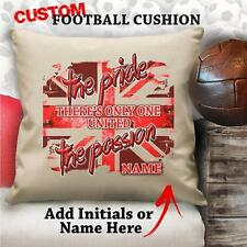 PERSONALISED MANCHESTER UNITED RETRO Football Cushion Cover Gift Him Dad Grandad