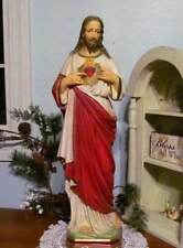 Sacred Heart of Jesus 24 inch Statue Plaster Chalkware Custom Made USA