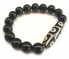 Big Stretchy Feng Shui 9-eye Agate dZi Beaded Bracelet-CLEANSE NEGATIVE ENERGY