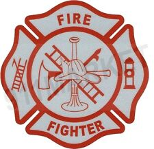 Firefighter Reflective Decal Fire Fighter RED Maltese Cross Car Sticker - T 78