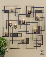 "NEW 48"" FORGED METAL DECORATIVE WALL SCULPTURE SCONCE CANDLE HOLDER CANDLES"