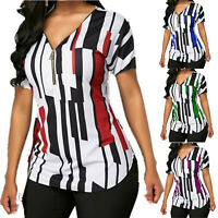 Plus Size Womens Striped Short Sleeve T-Shirt  Zipper V Neck Tops Casual Blouse