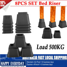 8PCS Bed Risers Furniture Chair Leg Lifts Bed Riser Feet Lift Black Up to 500KG