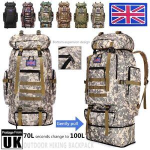 100L/70L Outdoor Camping Hiking Military Tactical Backpack Rucksack Large Bag UK