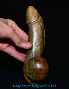 Antique Chinese Old Flower Jade Carved Genital Organ Reproductive Organs Statue